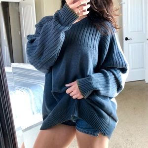 COLUMBIA Blue Slouchy Oversized Pullover Sweater